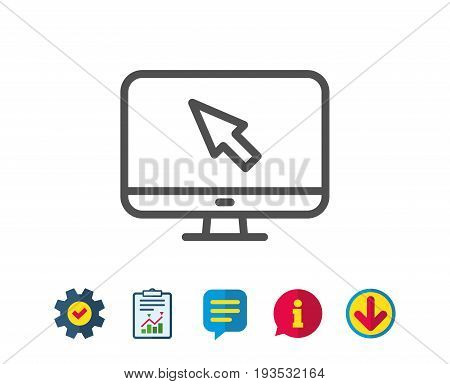Computer or Monitor icon. Mouse cursor sign. Personal computer symbol. Report, Service and Information line signs. Download, Speech bubble icons. Editable stroke. Vector