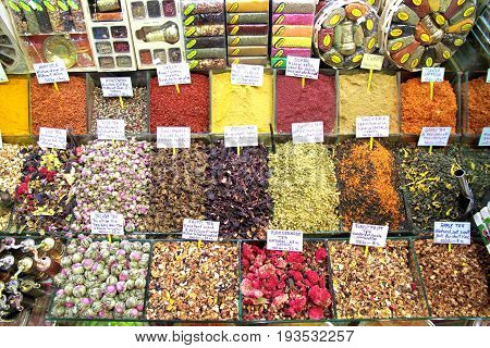 Turkish spice bazaar in istanbul close up image