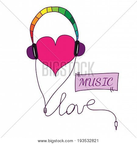 Love symbol with heart in earpieces with love and music text. Rainbow color earphone with heart.