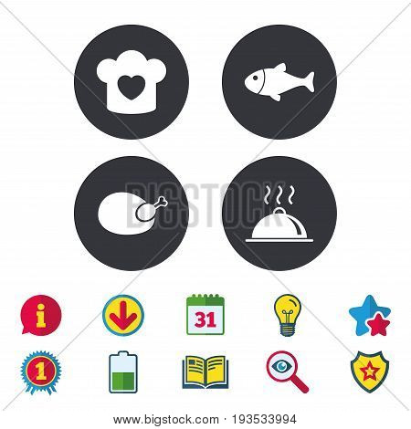 Chief hat with heart and cooking pan icons. Fish and chicken signs. Hot food platter serving symbol. Calendar, Information and Download signs. Stars, Award and Book icons. Vector