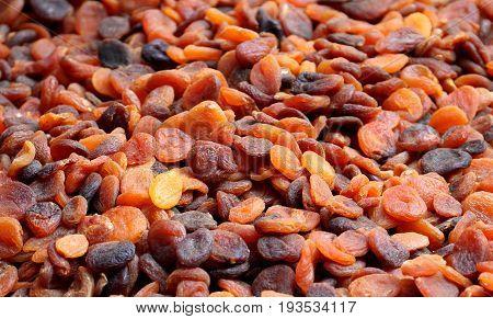 Sun-dried organic Turkish apricots close up image