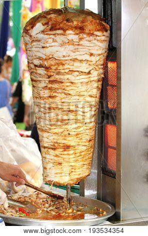 Turkish chicken doner kebab close up image