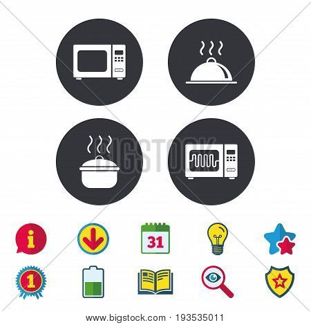 Microwave grill oven icons. Cooking pan signs. Food platter serving symbol. Calendar, Information and Download signs. Stars, Award and Book icons. Light bulb, Shield and Search. Vector