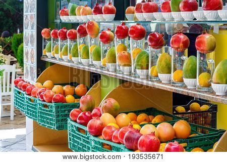 City marketplace with delicious fresh fruits for sale. Greece, Corfu. Daylight photo