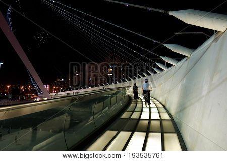 JERUSALEM ISRAEL - JUNE 25 2017: String bridge of the architect Santiago Calatrava in Jerusalem