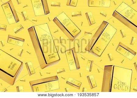 Gold bars rain on golden background .
