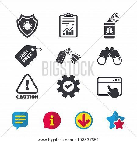 Bug disinfection icons. Caution attention and shield symbols. Insect fumigation spray sign. Browser window, Report and Service signs. Binoculars, Information and Download icons. Stars and Chat. Vector