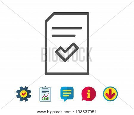 Checked Document line icon. Information File with Check sign. Correct Paper page concept symbol. Report, Service and Information line signs. Download, Speech bubble icons. Editable stroke. Vector