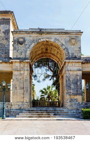 Ancient arch shaped bulding in Greece, Corfu. Daylight photo. Palace of St. Michael and St. George