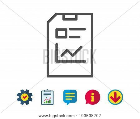 Report Document line icon. Analysis and Statistics File sign. Paper page concept symbol. Report, Service and Information line signs. Download, Speech bubble icons. Editable stroke. Vector