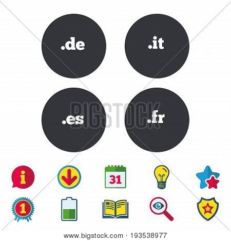 Top-level internet domain icons. De, It, Es and Fr symbols. Unique national DNS names. Calendar, Information and Download signs. Stars, Award and Book icons. Light bulb, Shield and Search. Vector