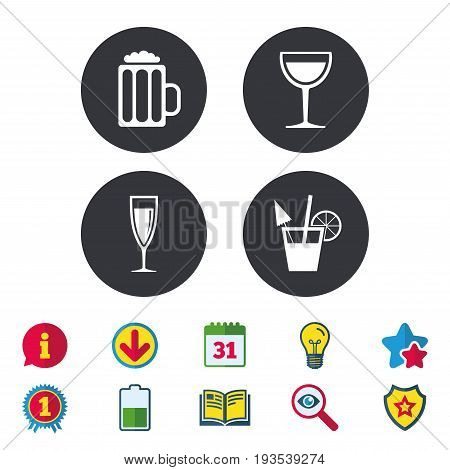 Alcoholic drinks icons. Champagne sparkling wine and beer symbols. Wine glass and cocktail signs. Calendar, Information and Download signs. Stars, Award and Book icons. Light bulb, Shield and Search