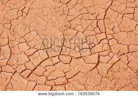 clay dried red dirt in summer  texture background