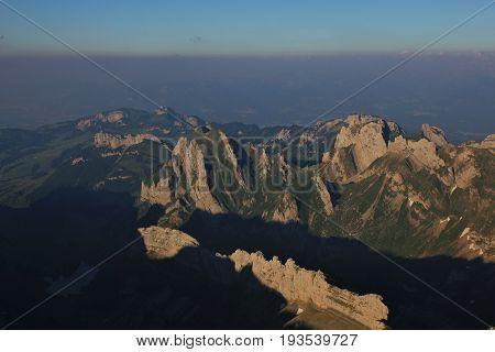 Alpstein Range in summer Appenzell Canton. View from Mount Santis.