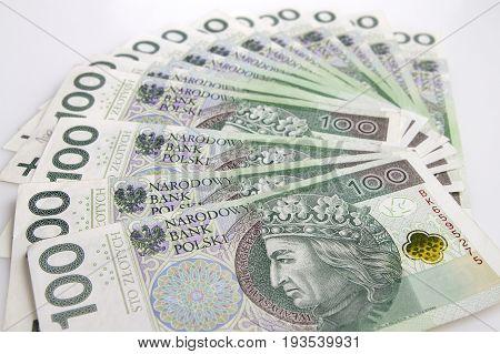 Warsaw Poland - July 1 2017: Polish currency. Fan of Polish 100 Zloty banknotes.