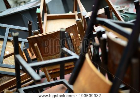 Abandoned Broken Wooden Chair And Desk