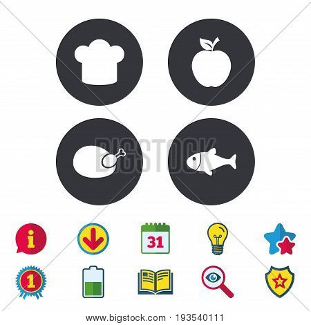 Food icons. Apple fruit with leaf symbol. Chicken hen bird meat sign. Fish and Chef hat icons. Calendar, Information and Download signs. Stars, Award and Book icons. Light bulb, Shield and Search