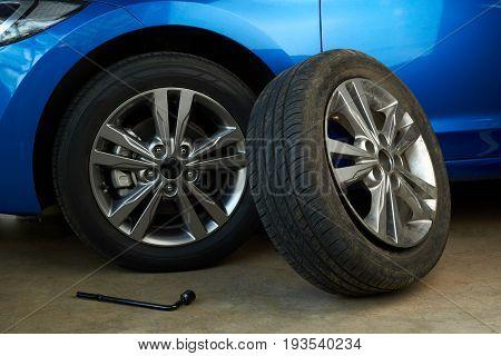 Changed car wheel. Tools for changing broken car wheel