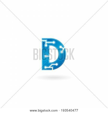 Letter D icon. Technology Smart logo, computer and data related business, hi-tech and innovative, electronic