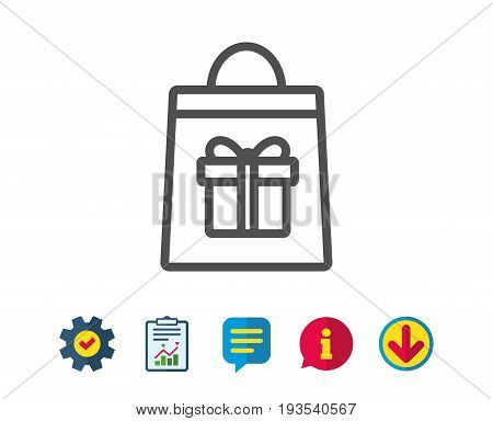 Shopping bag with Gift box line icon. Present or Sale sign. Birthday Shopping symbol. Package in Gift Wrap. Report, Service and Information line signs. Download, Speech bubble icons. Editable stroke