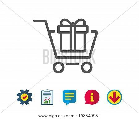 Shopping cart with Gift box line icon. Present or Sale sign. Birthday Shopping symbol. Package in Gift Wrap. Report, Service and Information line signs. Download, Speech bubble icons. Editable stroke