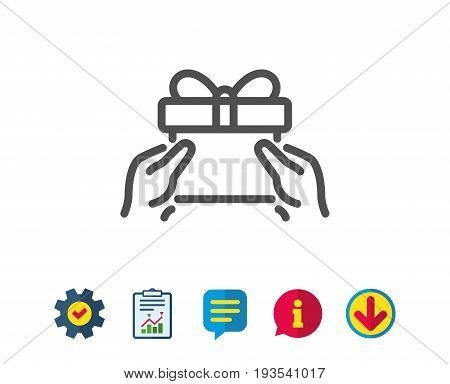 Give a Gift box line icon. Present or Sale sign. Birthday Shopping symbol. Package in Gift Wrap. Report, Service and Information line signs. Download, Speech bubble icons. Editable stroke. Vector