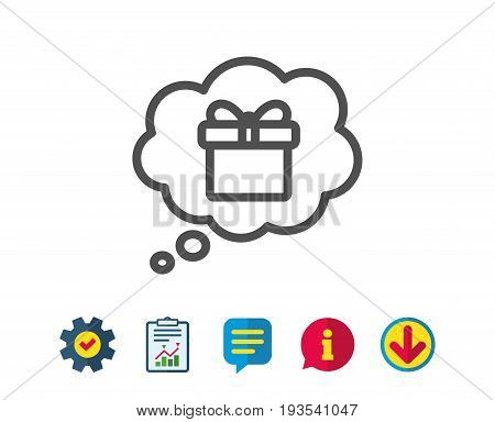 Dreaming of Gift line icon. Present box in Comic speech bubble sign. Birthday Shopping symbol. Package in Gift Wrap. Report, Service and Information line signs. Download, Speech bubble icons. Vector