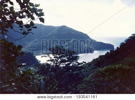A view of the coast of Tutuila Island from the top of Mount Alava, above Pago Pago, American Samoa.