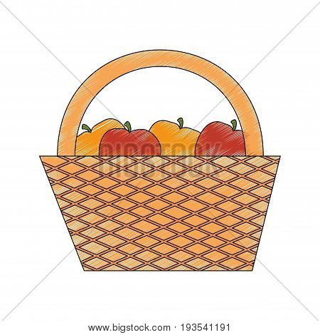 picnic basket with food icon over white background vector illustration