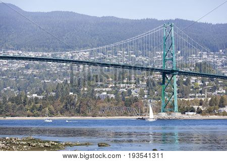 The view of Lions Gate Bridge over Vancouver Harbour (British Columbia).