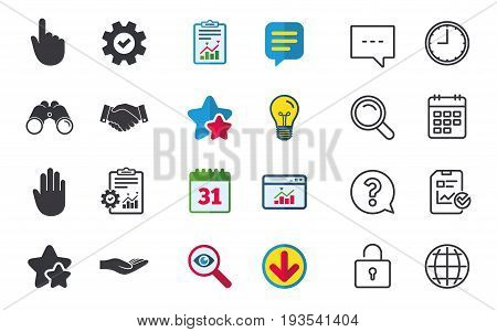 Hand icons. Handshake successful business symbol. Click here press sign. Human helping donation hand. Chat, Report and Calendar signs. Stars, Statistics and Download icons. Question, Clock and Globe