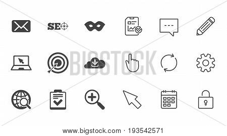 Internet, seo icons. Checklist, target and mail signs. Mask, download cloud and magnifier symbols. Chat, Report and Calendar line signs. Service, Pencil and Locker icons. Click, Rotation and Cursor