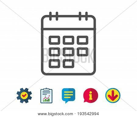 Calendar line icon. Event reminder sign. Agenda symbol. Report, Service and Information line signs. Download, Speech bubble icons. Editable stroke. Vector