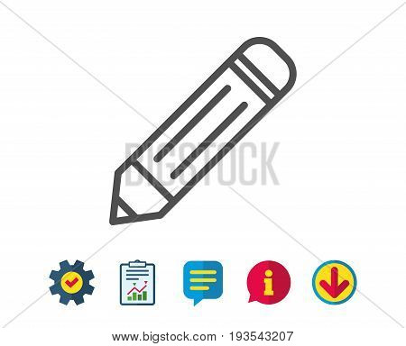 Pencil line icon. Edit sign. Drawing or Writing equipment symbol. Report, Service and Information line signs. Download, Speech bubble icons. Editable stroke. Vector