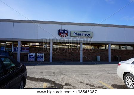 BAY VIEW, MICHIGAN / UNITED STATES - NOVEMBER 26, 2016: One may purchase drugs and other merchandise at the Rite Aid Pharmacy.