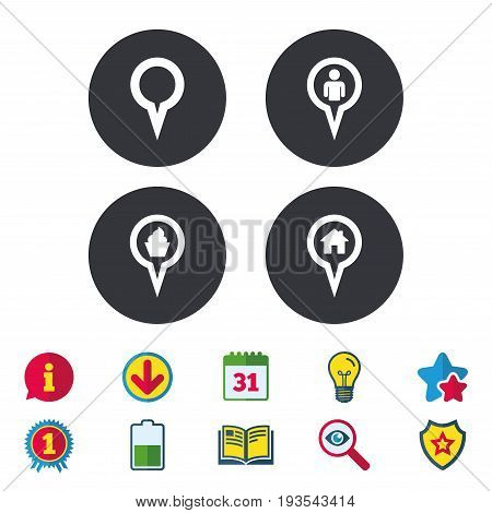 Map circle pointer icons. Home, food and user location symbols. Restaurant and cupcake signs. You are here. Calendar, Information and Download signs. Stars, Award and Book icons. Vector