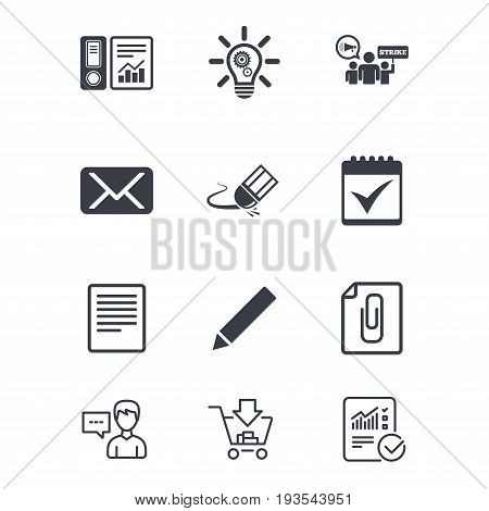 Office, documents and business icons. Accounting, strike and calendar signs. Mail, ideas and statistics symbols. Customer service, Shopping cart and Report line signs. Online shopping and Statistics