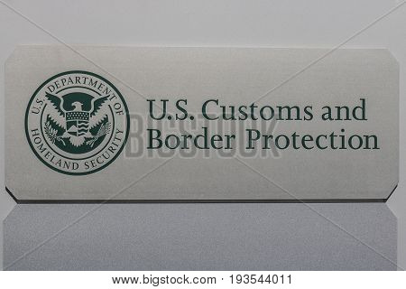 Indianapolis - Circa July 2017: U.S. Customs and Border Protection Revenue Division. CBP is a federal law enforcement agency of the U.S. Department of Homeland Security I