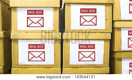 the stack of paper boxs with tag of mail box