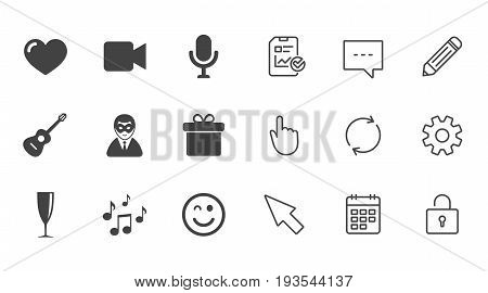 Party celebration, birthday icons. Carnival, guitar and champagne glass signs. Gift box, music and video camera symbols. Chat, Report and Calendar line signs. Service, Pencil and Locker icons. Vector
