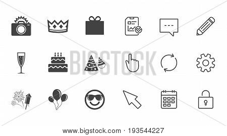 Party celebration, birthday icons. Fireworks, air balloon and champagne glass signs. Gift box, cake and photo camera symbols. Chat, Report and Calendar line signs. Service, Pencil and Locker icons