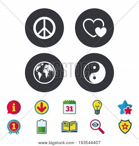 World globe icon. Ying yang sign. Hearts love sign. Peace hope. Harmony and balance symbol. Calendar, Information and Download signs. Stars, Award and Book icons. Light bulb, Shield and Search. Vector