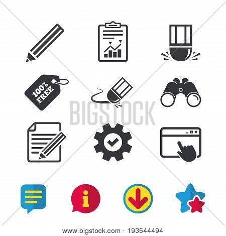 Pencil icon. Edit document file. Eraser sign. Correct drawing symbol. Browser window, Report and Service signs. Binoculars, Information and Download icons. Stars and Chat. Vector