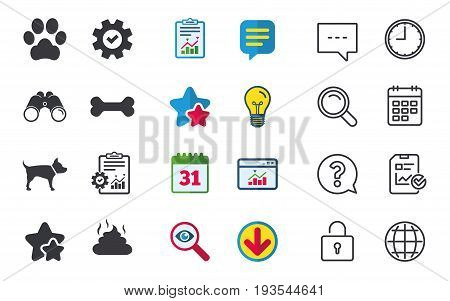 Pets icons. Dog paw and feces signs. Clean up after pets. Pets food. Chat, Report and Calendar signs. Stars, Statistics and Download icons. Question, Clock and Globe. Vector
