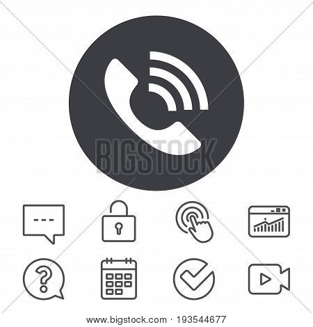 Phone sign icon. Support symbol. Call center. Calendar, Locker and Speech bubble line signs. Video camera, Statistics and Question icons. Vector