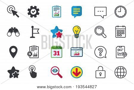 Mouse cursor icon. Hand or Flag pointer symbols. Map location marker sign. Chat, Report and Calendar signs. Stars, Statistics and Download icons. Question, Clock and Globe. Vector