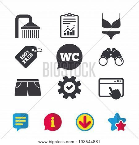 Swimming pool icons. Shower water drops and swimwear symbols. WC Toilet speech bubble sign. Trunks and women underwear. Browser window, Report and Service signs. Vector