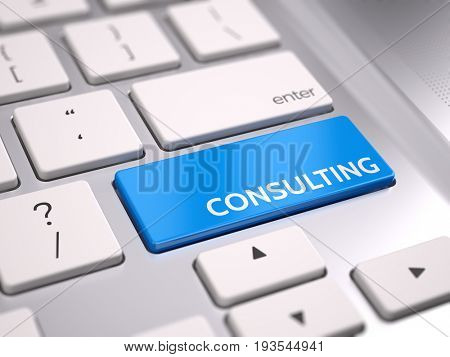 Blue consulting button on keyboard - consulting concept. 3d render