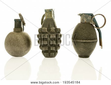 Three grenades of baseball pineapple and lemon on an isolated background.