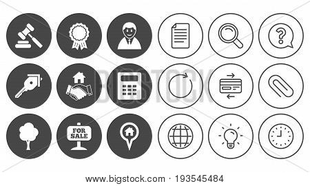 Real estate, auction icons. Handshake, for sale and calculator signs. Key, tree and award medal symbols. Document, Globe and Clock line signs. Lamp, Magnifier and Paper clip icons. Vector